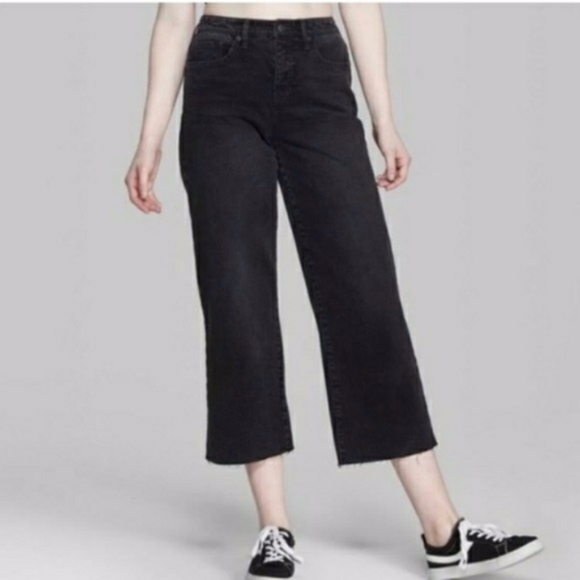 wild fable Denim - NEW WILD FABLE HIGH RISE SKATER RAW WIDE LEG JEANS